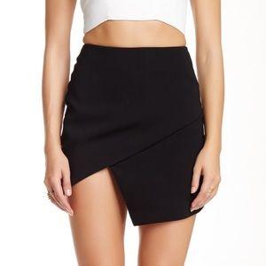 ASTR Black Asymmetrical Faux Wrap Mini Skirt
